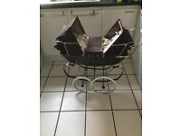 Refurbished Silver Cross coach built dolls twin pram in brown with accessories.