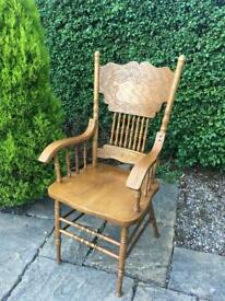 Carved wooden chair OAK shabby chic vintage retro