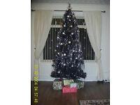 LOVELY 7FT. SLIM BLACK HINGED BRANCH XMAS TREE. + 400 WHITE LIGHTS.