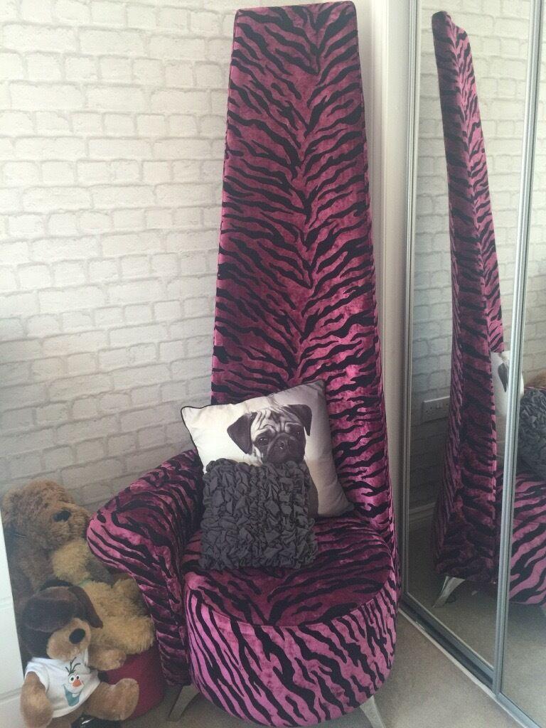 Pink Black Animal Print High Back Chair Velvet