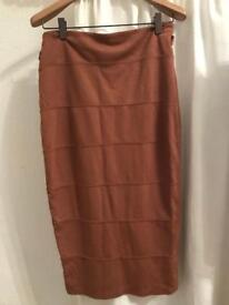 Select tan pencil skirt