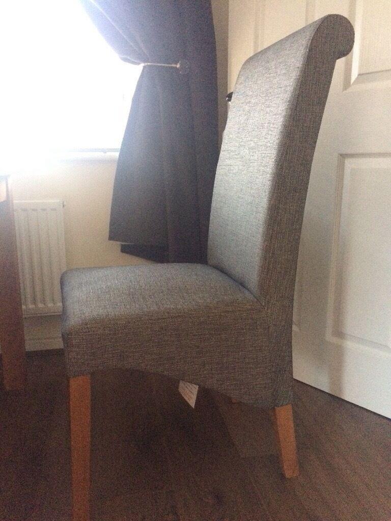 2 X Next Harlow Dining Chairs Herringbone Grey