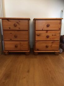 2 x Pair of matching solid pine wooden bedside tables chest of drawers