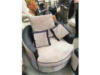 Corner sofa , wth swivel chair and poofy