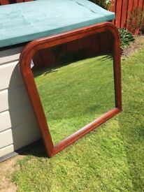 Large Wooden Over Mantel Mirror