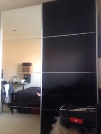Double sliding doors mirror free standing wardrobe