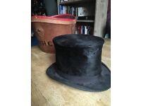 Vintage Black Top Hat with Original Leather Box