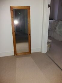 Pine Surround Wall Hanging Mirror - Excellent Condition