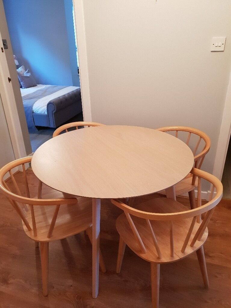 Ferndale Round Oak Dining Table With 4 Chairs Homebase In Anniesland Glasgow Gumtree