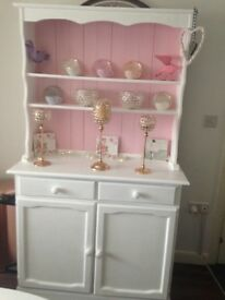 Shabby chic pink and white Welsh dresser