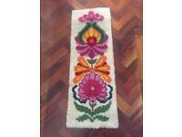 Vintage retro scandi mid century wool latch flower rug