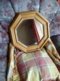 Eight sided pine framed mirror