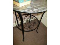 Unusual round black table, metal, shelf, glass top, lamp, hall, bedside, cabinet, designer side
