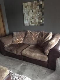 Dfs sofa set in brown leather and fabric