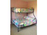 Silver metal Bunk Beds single and double inc mattress