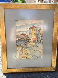 Picture: Watercolour scene of Porto in gold frame