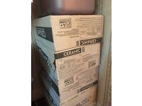 5 White boxes of ceramic tiles