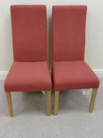 2 x Curved Back Red Fabric Dining Room Chairs with Oak Legs