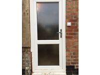 Upvc double glazed back door, opaque glass, frame and lock