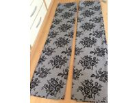 """Grey/Black Pencil Pleat Blackout Curtains 66"""" x 72"""" from Next"""