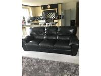 Italian Black Leather 3 seater 2 seater reclining swivel chair and pouffe