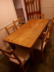 PINE WOOD TABLE AND 6 CHAIRS