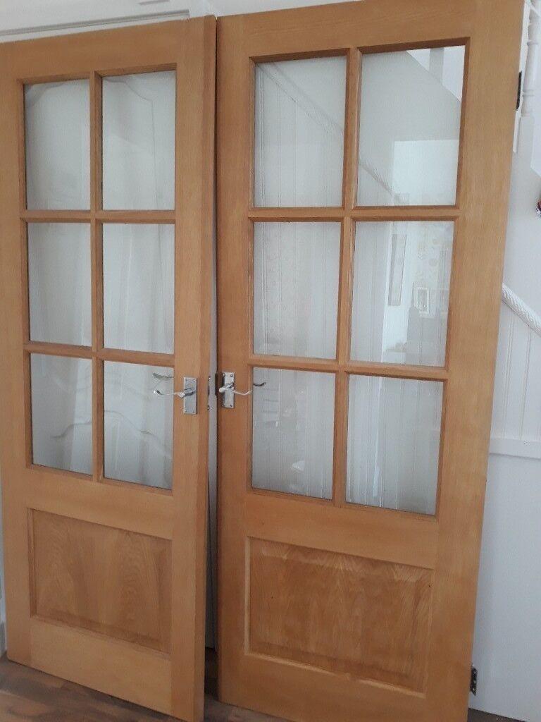 2 Hardwood Glazed Internal French Doors In Liverpool