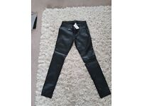 H&M black wet look trousers