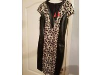 Leopard print and Leather Panel dress size 10 BRAND NEW
