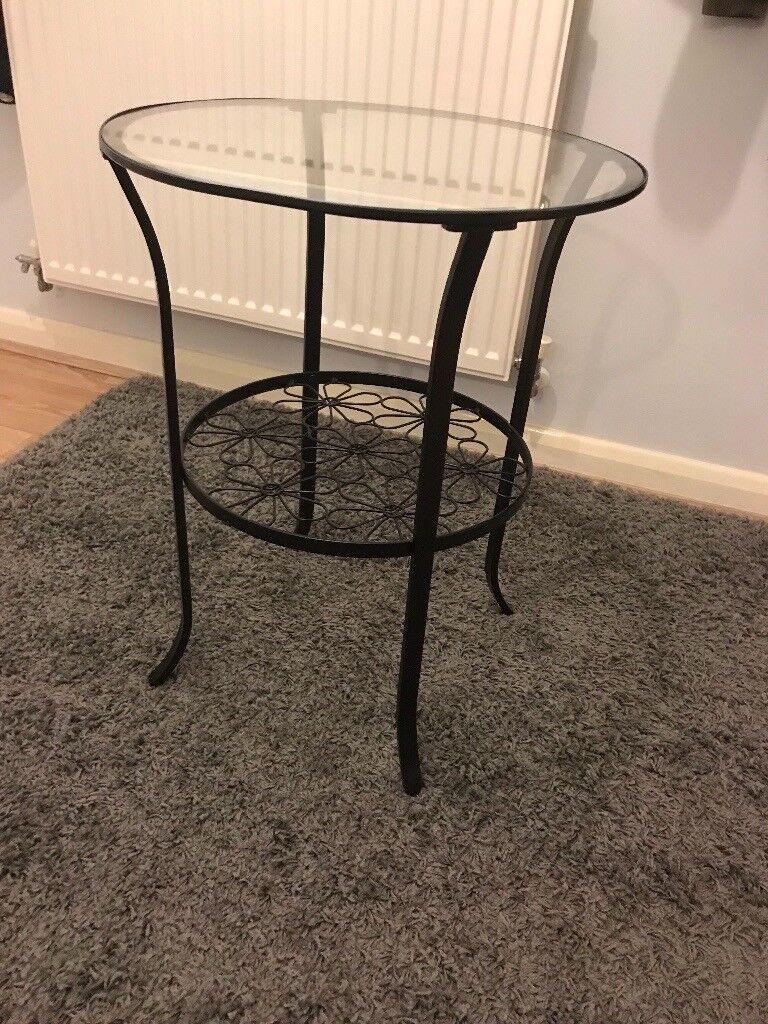 Black round side table glass tabletop great condition