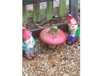 Old garden gnomes with toadstool