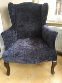 Grey Wingback Chair