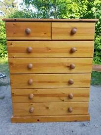 Stunning solid pine 7 drawer chest of drawers