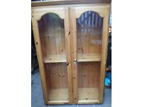 PINE GLASS DISPLAY CABINET WITH LOCK AND KEY