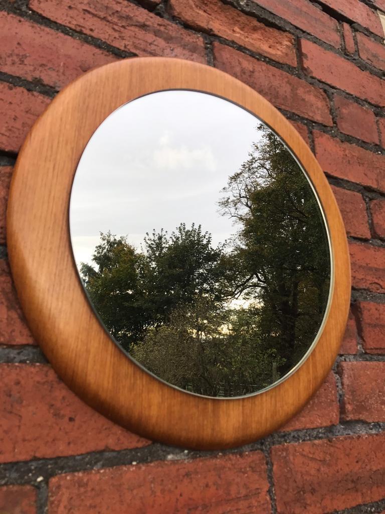 Vintage Teak Framed Round Mirror