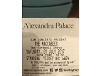 2 x Maccabees Tickets Sat 1st July Ally Pally
