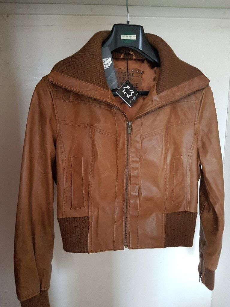 brown leather bomber type jacket never worn still have on size18