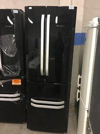 Hotpoint FFU4DK Quadrio 70cm Wide Frost Free Freestanding Fridge Freezer Shiny Black
