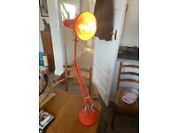 Vintage Herbert Terry Model 75 Angle Poise Orange Engineers Lamp VGWC