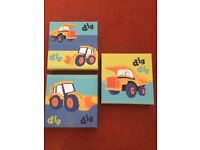 3 x small canvas digger/tractor pictures