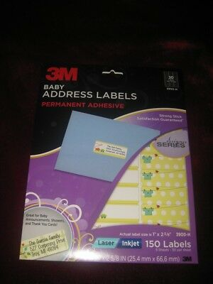 3M Baby Address Labels 3900-H 150 Laser Inkjet Labels Permanent Adhesive NEW NIP