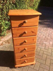 Pine 6 drawer tall unit