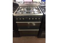 60CM BLACK STAINLESS STEEL SMEG DUEL FUEL GAS COOKER