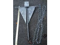 Danforth anchor with 10 ft chain cable