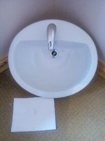 White inset vanity bathroom sink mixer taps