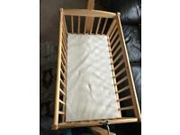 Mothercare swing crib with mattress and Moses basket