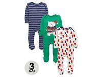 Ladybird Baby Boys Sleepsuits x 3