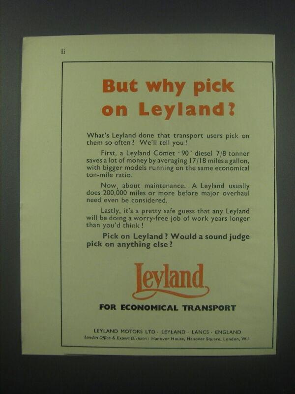 1954 Leyland Motors Ad - But why pick on Leyland?