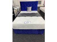 ROYAL BLUE CRUSH VELVET BED