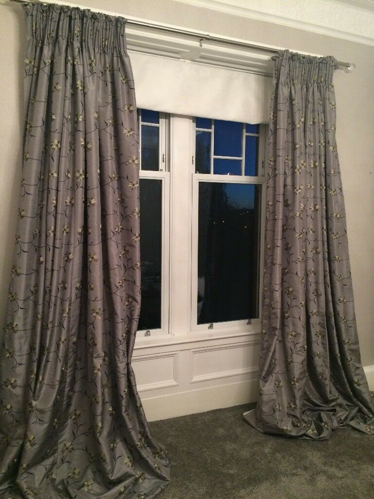LONG GREY SILK CURTAINS. IDEAL FOR TENEMENT - REDUCED